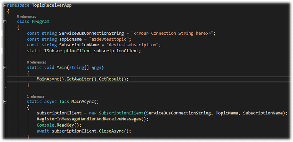 Azure Service Topic Receiver Code Example