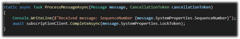 Azure Service Topic Receiver Code Example with ProcessMessageAsync